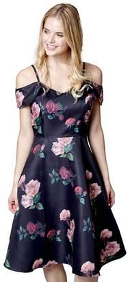 Yumi London - Black Floral Print 'Jaime' Party Skater Dress