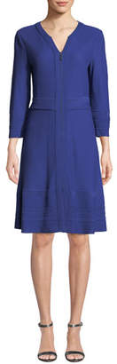 Misook Zip-Front Textured A-line Dress