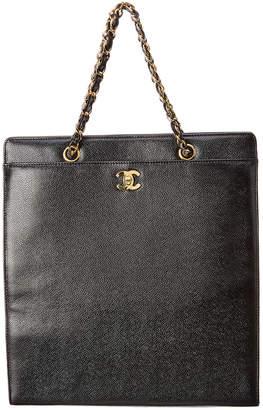 Chanel Black Caviar Leather Turnlock Tote