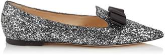 Jimmy Choo GALA Gunmetal Mix Star Coarse Glitter Fabric Pointy Toe Flats with Bow Detail