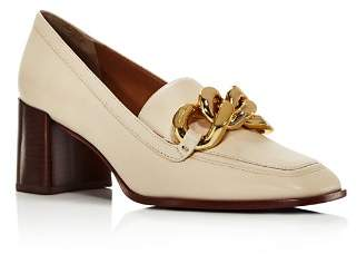 Tory Burch Women's Adrien Square Toe Leather High-Heel Loafers