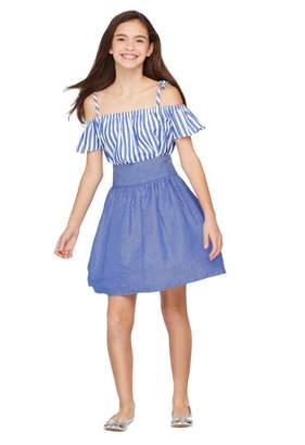 Milly Minis Chambray Shirting Flare Skirt