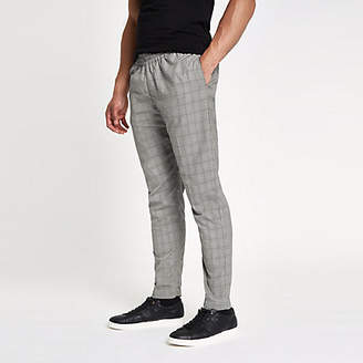 Bellfield grey check elasticated pants