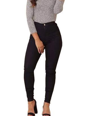 Topicshine Women's Autumn High Waist Skinny Stretch Pencil Pants Jeggings(BL,2XL)