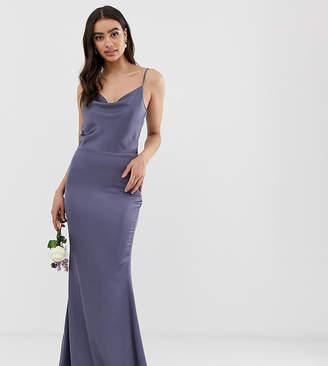 1f6cc48c19d Missguided satin cowl neck maxi dress in blue