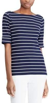 Lauren Ralph Lauren Striped Elbow-Sleeve Knit Tee