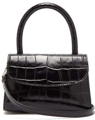 BY FAR Mini Crocodile Embossed Leather Handbag - Womens - Black