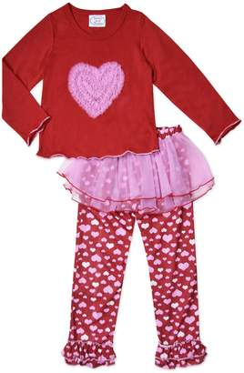Sara's Prints Girls Tulle Heart 2-Piece Pajama , Kids