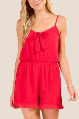 francesca's Angelica Tie Front Romper - Red