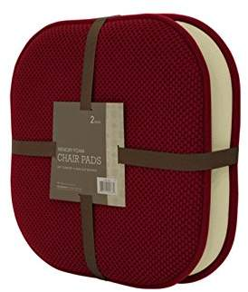GoodGram 2 Pack Non Slip Ultra Comfort Memory Foam Chair Pads - Assorted Colors (Merlot)