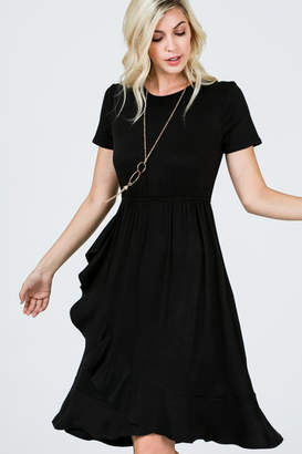 Ces Femme Black Ruffle Skirt Short Sleeve Knee Length Dress