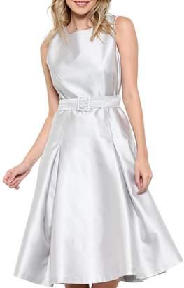 Elegance By Sarah Ruhs Belted Silver Dress