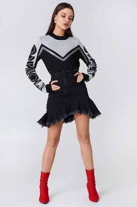 NA-KD Na Kd Raw Hem Slanting Frill Denim Skirt Black