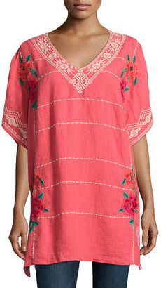 JWLA For Johnny Was Selena Embroidered Linen Poncho Top, Plus Size $265 thestylecure.com