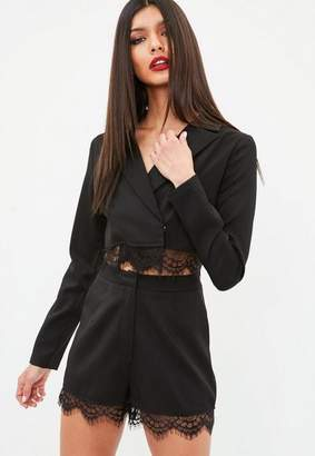 Missguided Black Cropped Lace Hem Blazer, Black