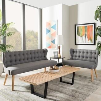 Baxton Studio Melody Mid-Century Modern Natural Wood Finishing Grey Fabric 2-Piece Settee Set