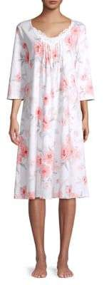 Carole Hochman Lace-Trimmed Floral Nightgown