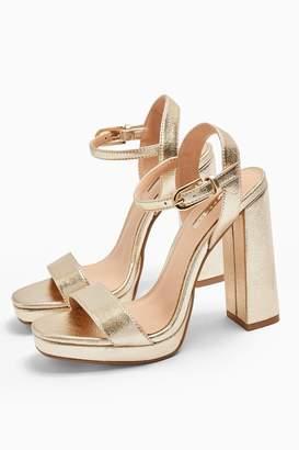 Topshop SABINE Gold Platform Heels