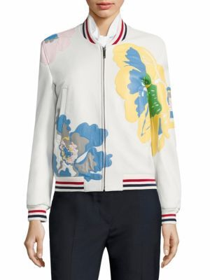 Thom Browne Floral Leather Bomber Jacket $4,900 thestylecure.com