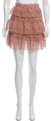 Self-Portrait Ruffle-Accented Mini Skirt