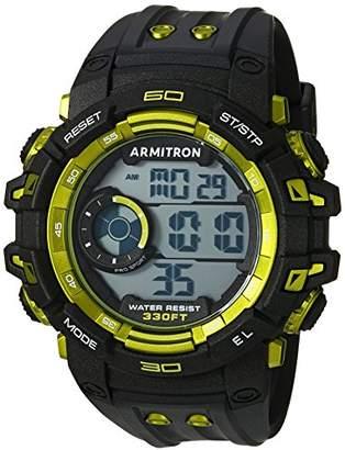 Armitron Sport Men's 40/8399LBK Lime Green Accented Digital Chronograph Black Resin Strap Watch