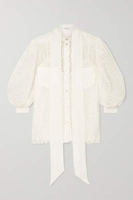 Givenchy Pussy-bow Silk Crepe-trimmed Lace Blouse - Ivory