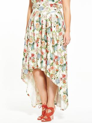 V by Very Curve Floral Dipped Hem Co-ord Skirt