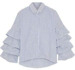 Iris & Ink Stina Ruffled Striped Cotton-Poplin Shirt