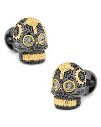 Cufflinks Inc. 3D Day of the Dead Sugar Skull Cuff Links, Black/Gold