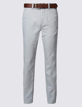 M&S Collection Straight Fit Pure Cotton Chinos with Belt