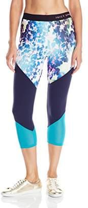 Juicy Couture Black Label Women's Spt Floral Glow Color Blck Capri Legging $52.69 thestylecure.com