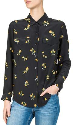 The Kooples Popcorn Floral-Print Silk Shirt