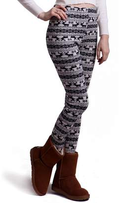 Nordic HDE Women Winter Knit Leggings Fleece Line Design Thermal Insulated Pants (White Black Reindeer and Snowflakes, X-Large)