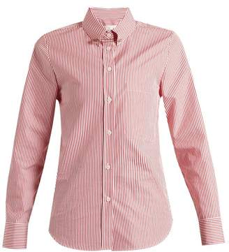 Golden Goose Janice Point Collar Striped Cotton Shirt - Womens - Red Multi