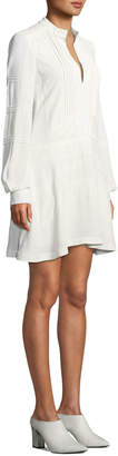 Derek Lam 10 Crosby Long-Sleeve Cotton Shift Dress with Lace Details