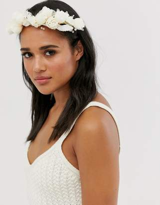 Asos Design DESIGN Wedding hair crown with blush and cream flowers and bead embellishment