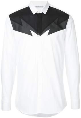 Neil Barrett lightning bolt panelled shirt