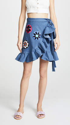 Katya Dobryakova Flowers Circle Denim Wrap Miniskirt