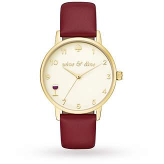 Kate Spade Ladies Metro Burgundy Leather Strap Watch KSW1188