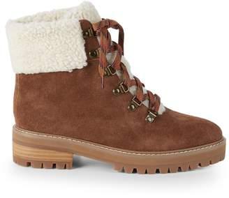 RENVY Myra Faux Fur Trim Suede Hiking Boots