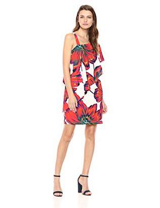 MSK Women's Casual Overlay one Shoulder Dress with Floral Print