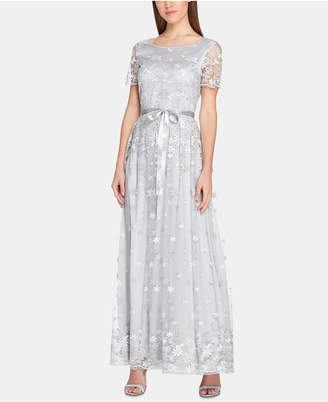 Tahari ASL Embroidered Floral Gown