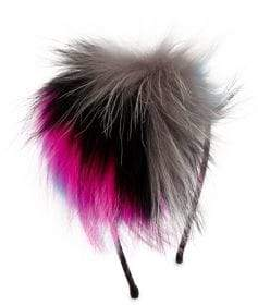 Bari Lynn Multicolor Fox Fur Pom-Pom Headband