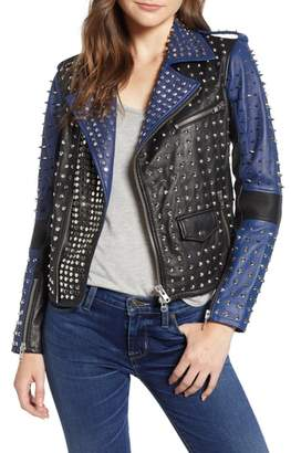 Hudson Colorblock Studded Lambskin Leather Biker Jacket