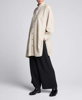 eskandar Leather Collarless Slit-Side Shirt