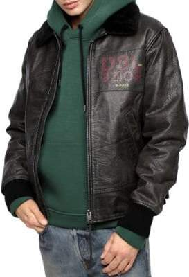Diesel Bowdre Paint Shearling-Trim Leather Jacket