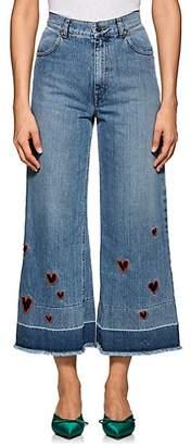 Vivetta Women's Dafni Embroidered Wide-Leg Jeans - Blue Size 44 It
