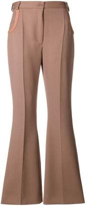 Nina Ricci leather-trimmed flared trousers