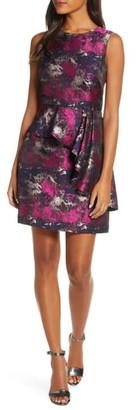 Vince Camuto Metallic Asymmetrical Peplum Sheath Dress