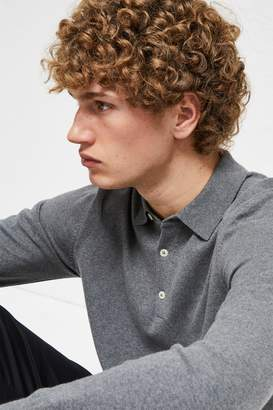 French Connenction Stretch Cotton Long Sleeve Polo Shirt